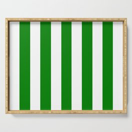 Green (HTML/CSS color) - solid color - white vertical lines pattern Serving Tray