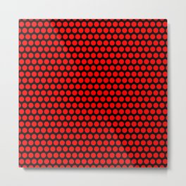 Polka / Dots - Red / Black - Large Metal Print