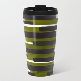 Olive Green Primitive Stripes Mid Century Modern Minimalist Watercolor Gouache Painting Colorful Str Travel Mug
