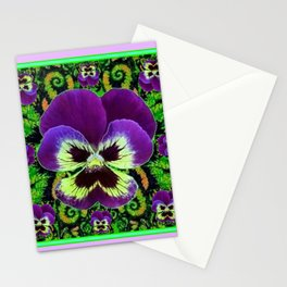 Lilac  Color Purple PANSY Green Garden art Stationery Cards