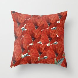 Vintage red orange poppy floral pattern Throw Pillow