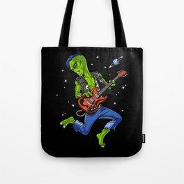 Alien Playing Guitar Tote Bag