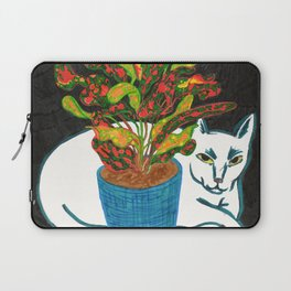 Cat with House Plant Laptop Sleeve