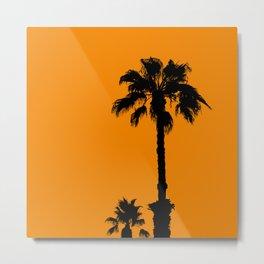 Palm trees on tangerine Metal Print