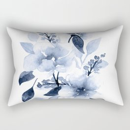 Navy Watercolor Flowers Rectangular Pillow