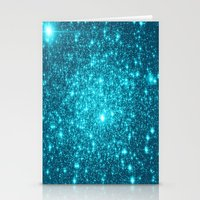 turquoise Stationery Cards featuring Turquoise Teal Sparkle Stars by Whimsy Romance & Fun