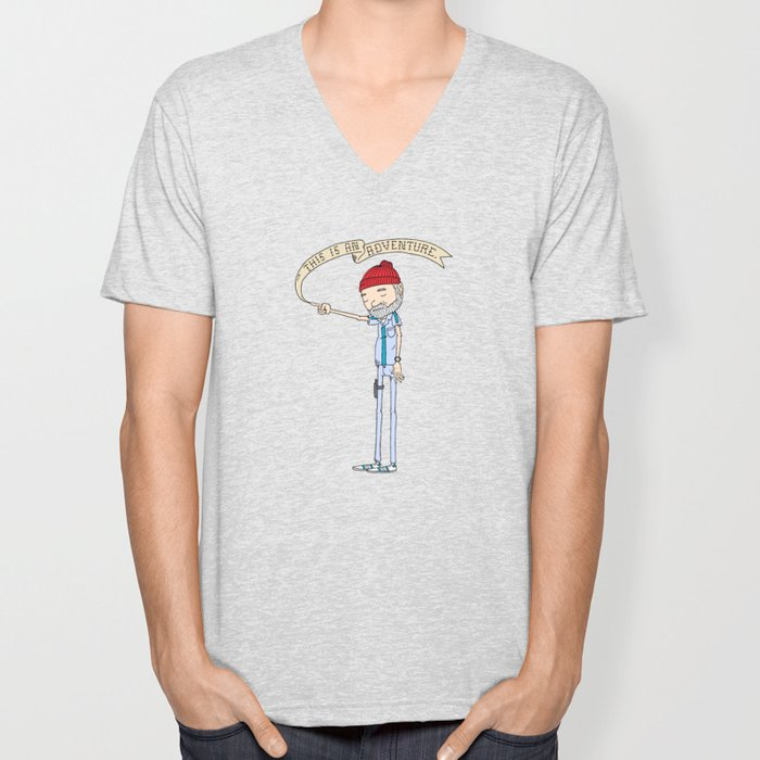"""THIS IS AN ADVENTURE."" - Zissou Unisex V-Neck"