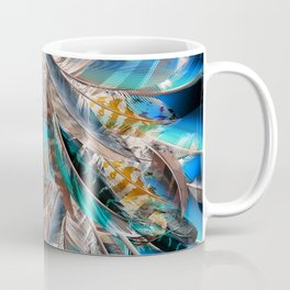 Fashion pattern with blue feathers. Trendy design Coffee Mug