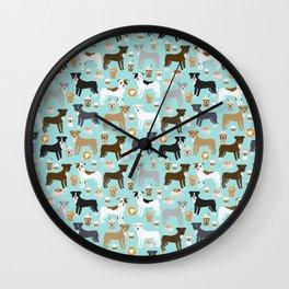 Pitbull coffee dog breed pet art pibble lovers rescue dogs pitbulls Wall Clock