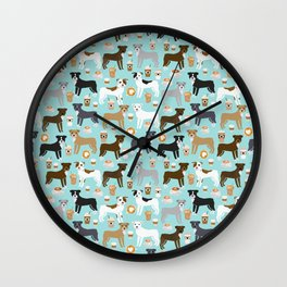 Pitbull coffee dog breed pet art pibble lovers rescue dogs pitbulls Wall Clock