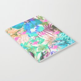 Trendy tropical teal pink floral flamingo Notebook