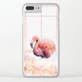 Flamingo Bath Clear iPhone Case