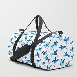 Watercolor Showjumping Horses (Blue) Duffle Bag