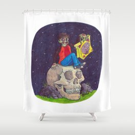 HALLOWEEN - Zombie-Boy with Skull  Shower Curtain