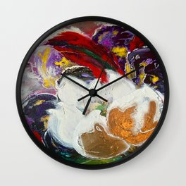 Purple Peonies in Gold with Red Wall Clock