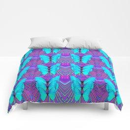 MODERN ART NEON BLUE BUTTERFLIES SURREAL PATTERNS Comforters