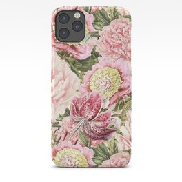 Vintage & Shabby Chic Floral Peony & Lily Flowers Watercolor Pattern iPhone Case