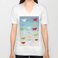 planes V-neck T-shirts featuring Paper Planes by irayflo