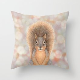 fox squirrel woodland animal portrait Throw Pillow