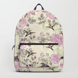 Vintage & Shabby Chic - Lush pastel roses and hummingbird pattern Backpack