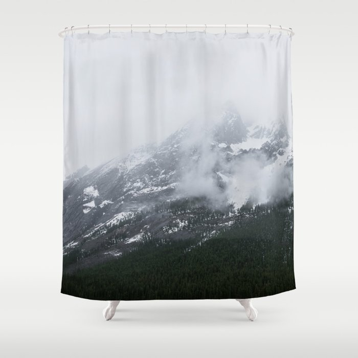 Mountains Landscape Photography | Maligne Lake Alberta Shower Curtain