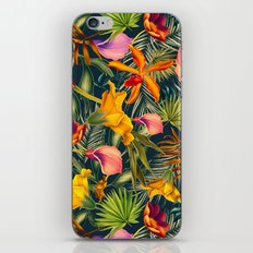 Tropical flowers and leaves pattern iPhone & iPod Skin