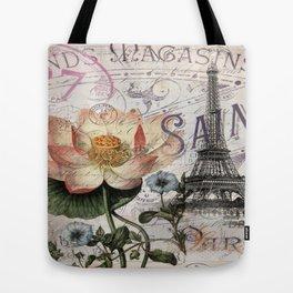 french scripts lotus floral vintage paris eiffel tower Tote Bag