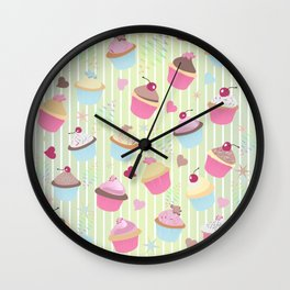 Cupcakes with love Wall Clock