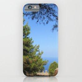 Pine tree, sea and sky landsape iPhone Case