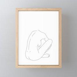 Nude figure line drawing illustration - Ellena Framed Mini Art Print