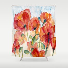 Tangerine Orange Poppy field WaterColor by CheyAnne Sexton Shower Curtain