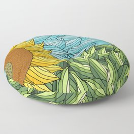 SUNNY DAY (abstract flowers) Floor Pillow