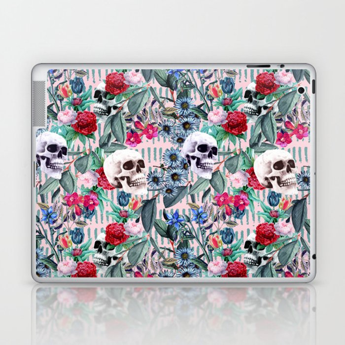 Flowers and Skulls (Pink) Laptop & iPad Skin