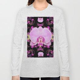 Purple Orchids Pattern Fantasy Yellow Black Art Pattern Long Sleeve T-shirt