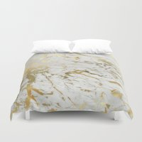 samsung Duvet Covers featuring Gold marble by Marta Olga Klara