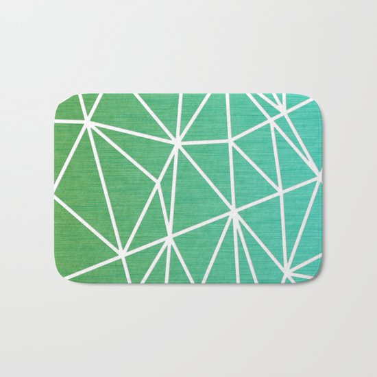 Abstract geometric | green & turquoise Bath Mat