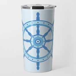 AFE Ship Wheel Light Blue, Nautical Art Print Travel Mug