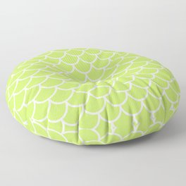 Lime Green fish scales pattern Floor Pillow