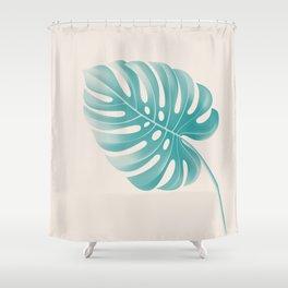 Monstera Tropical Deep Peacock Blue and Gardenia Shower Curtain