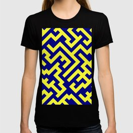 Electric Yellow and Navy Blue Diagonal Labyrinth T-shirt