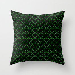 Slender metal pattern of green hearts on a black background. Throw Pillow
