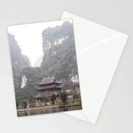 Temple in the middle of the mountains, Ninh Binh, Vietnam | Moody travel photography | Travel photo print, wall art Stationery Cards