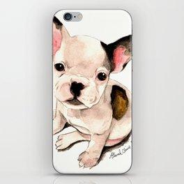 French Bulldog Pug Dog Watercolor Pet Portrait iPhone Skin
