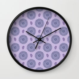Mandala Paisley Block Print Purple Wall Clock