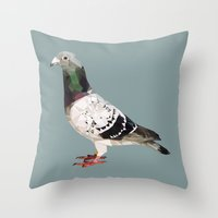 pigeon Throw Pillows featuring Pigeon by Sally Taylor