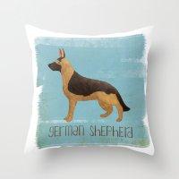 german shepherd Throw Pillows featuring German Shepherd by 52 Dogs