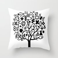 math Throw Pillows featuring math by store2u