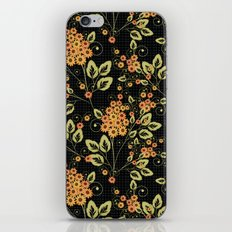 Bright floral pattern on a black background. iPhone & iPod Skin