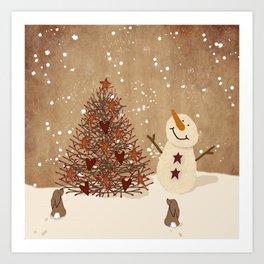 Primitive Country Christmas Tree Art Print