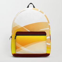 Background of white waves. Geometric pattern of white stripes and waves on a yellow background Backpack